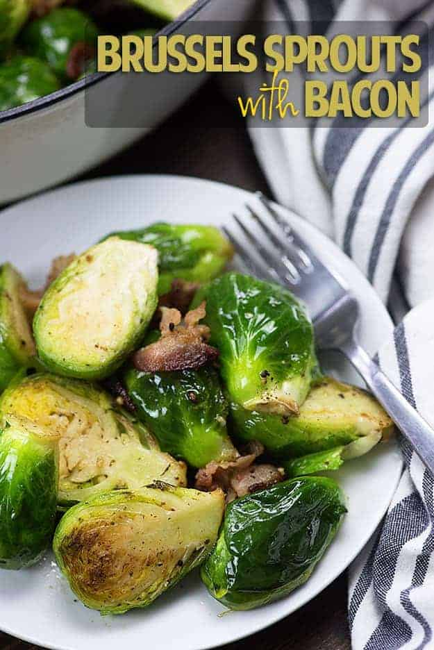 These Brussels sprouts with bacon are pan-fried with a little garlic for a fabulous low carb side dish that's full of flavor and only takes about 20 minutes to make.