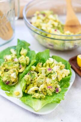 avocado egg salad in lettuce wraps.