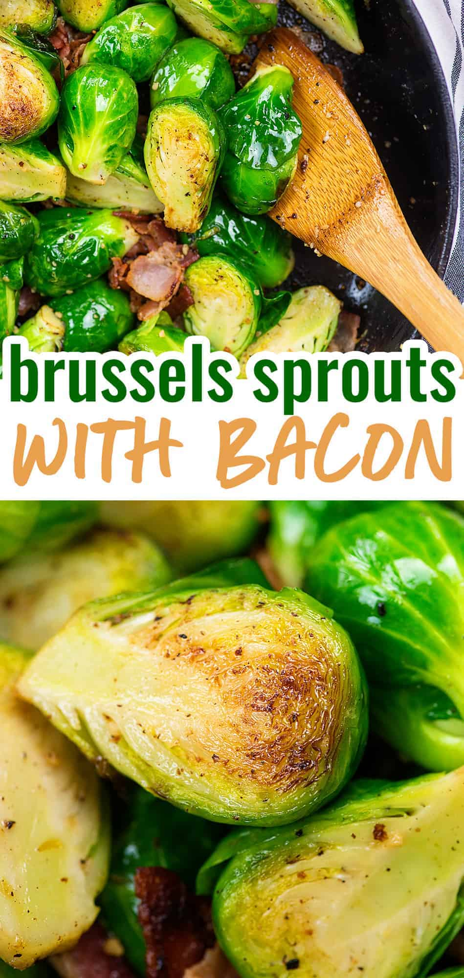 brussels sprouts and bacon collage with text