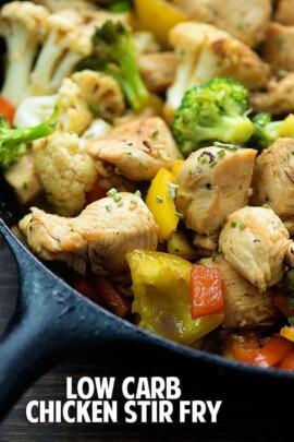 This low carb chicken stir fry is ready in just 30 minutes!