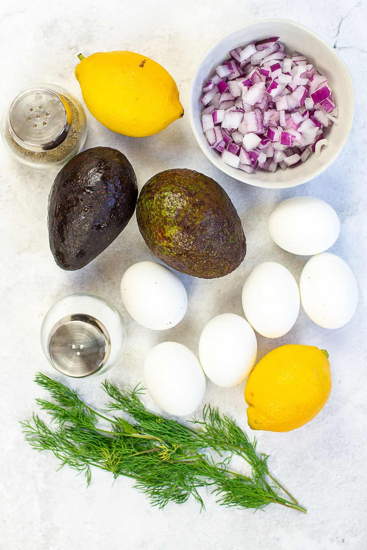 avocado egg salad ingredients.