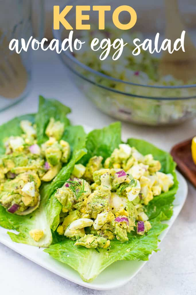 egg salad on lettuce wrap with text for pinterest.
