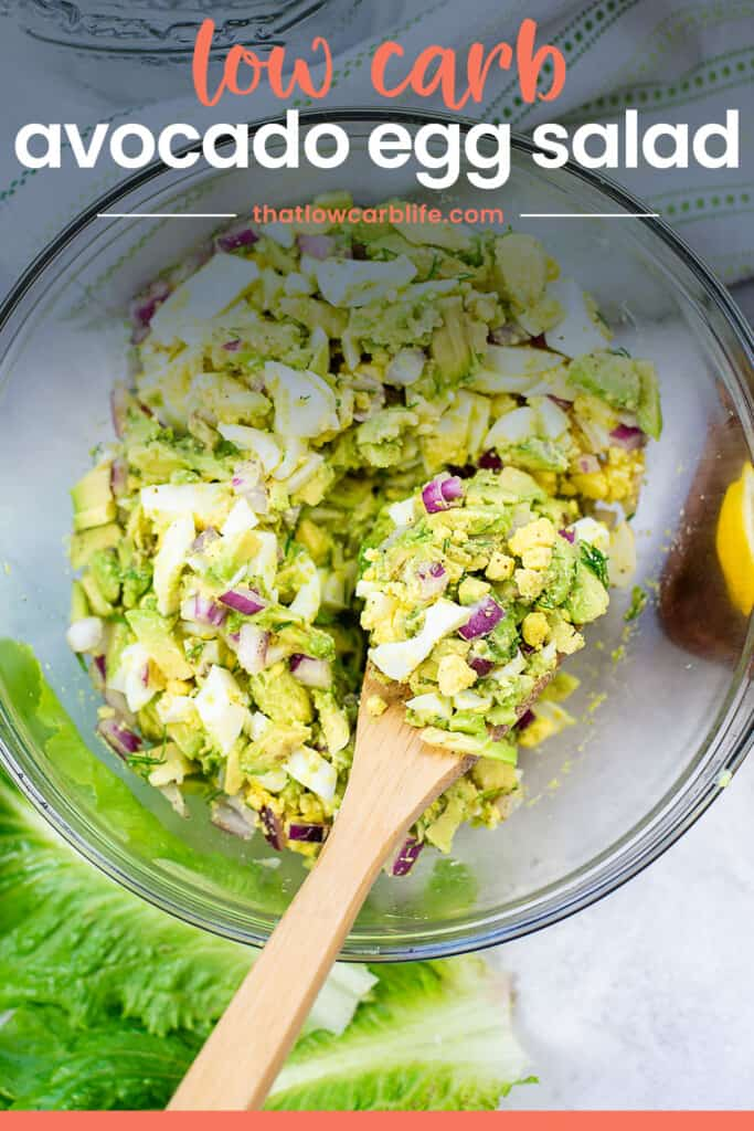 avocado egg salad recipe in glass mixing bowl with text for Pinterest.