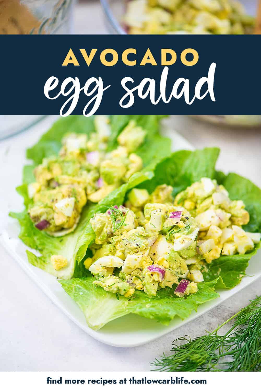 Avocado Egg Salad in lettuce wraps on white plate.