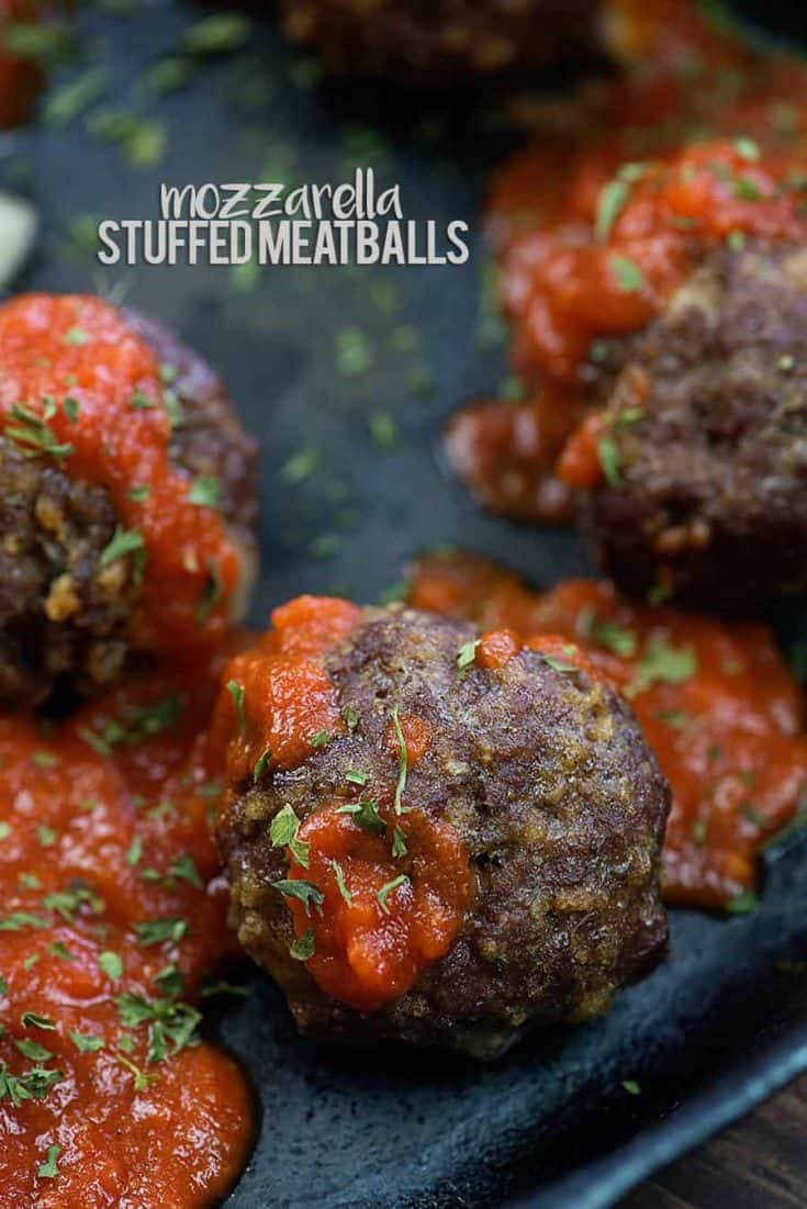 Mozzarella Stuffed Meatballs! They're low carb and keto friendly! #lowcarb #keto #meatballs