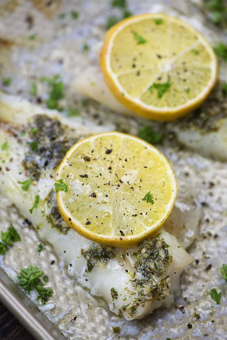 Garlic and lemon baked cod on sheet pan
