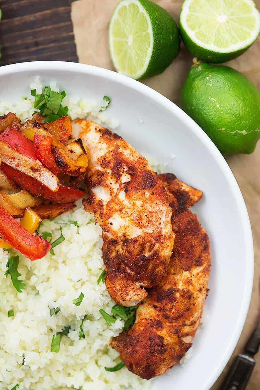 chicken fajitas recipe in white bowl