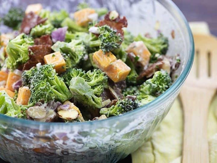 Keto Broccoli Salad Recipe With Bacon Cheddar