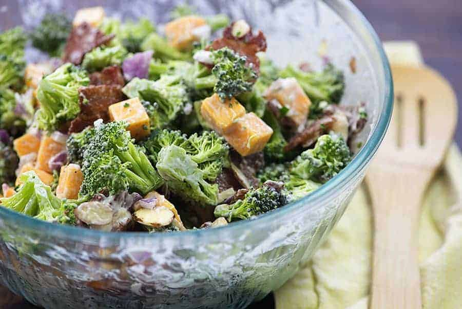 easy broccoli salad recipe in bowl