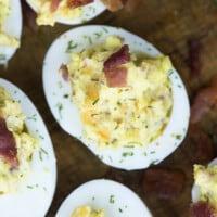 Cheddar Bacon Deviled Eggs