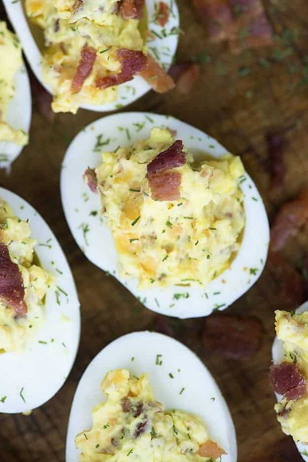 bacon deviled eggs recipe on cutting board