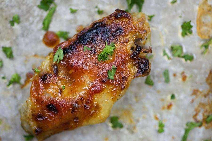 low carb bbq chicken wings on cookie sheet