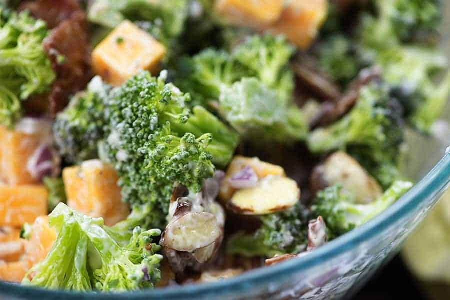 low carb broccoli salad in bowl