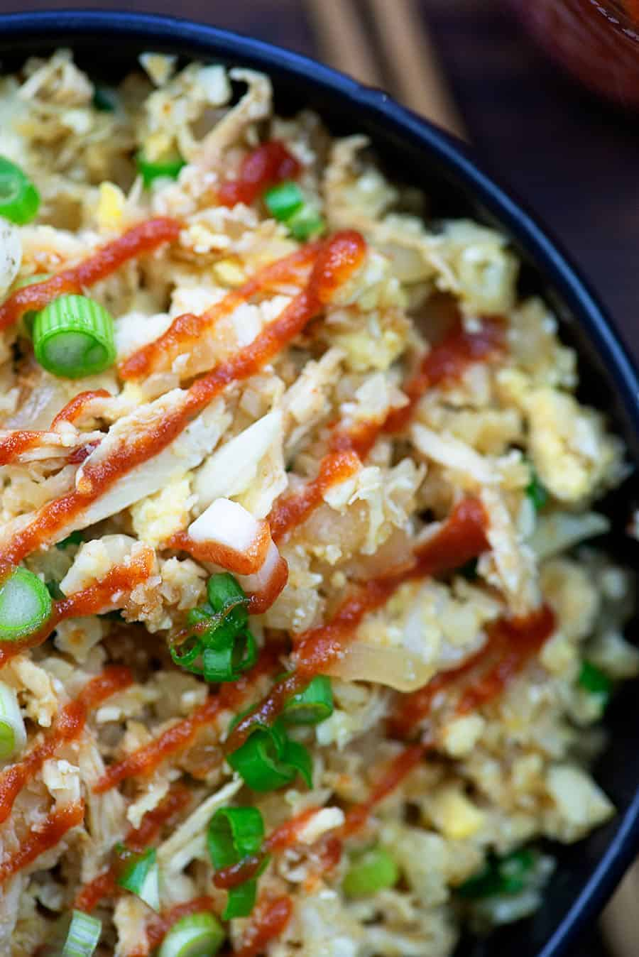close up of fried cauliflower rice