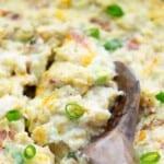 cheesy cauliflower casserole in white dish