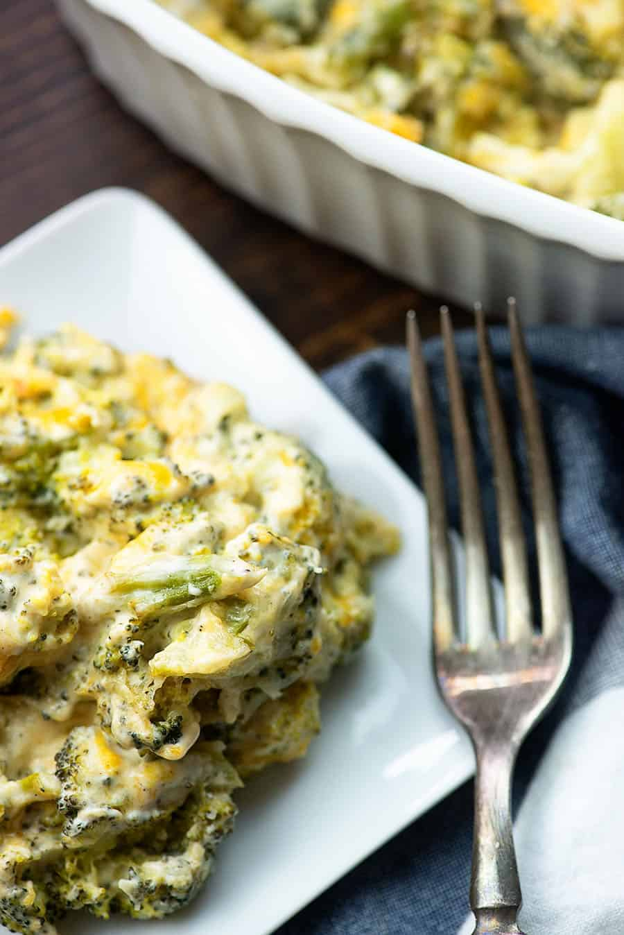 keto broccoli casserole on white plate