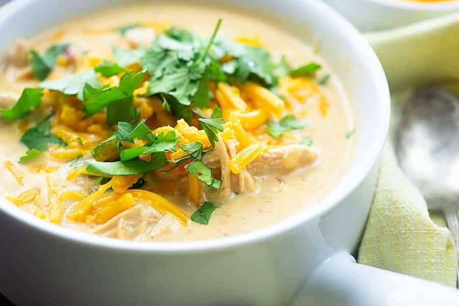 low carb soup in white bowl