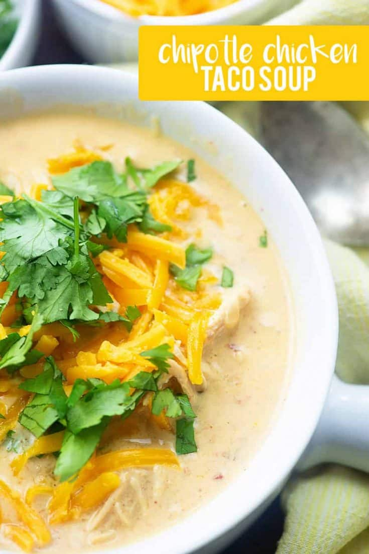 Low carb taco soup made in the Instant Pot! This chicken taco soup is BURSTING with flavor. #keto #instantpot #lowcarb #soup