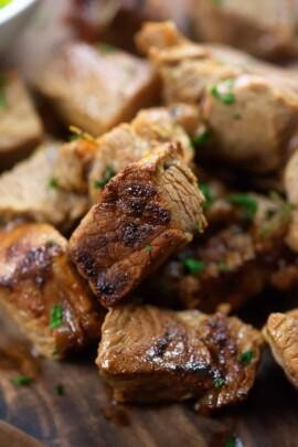 close up of steak bites