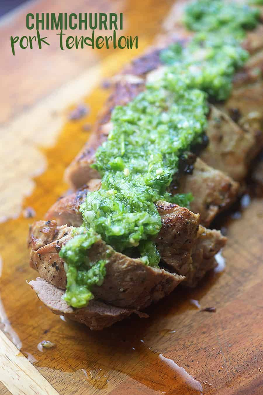 Chimichurri pork tenderloin! Homemade cilantro chimichurri is the perfect topping for this oven baked pork tenderloin! #recipe #lowcarb #keto #pork