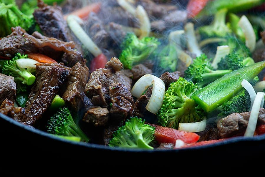 keto stir fry recipe in cast iron skillet