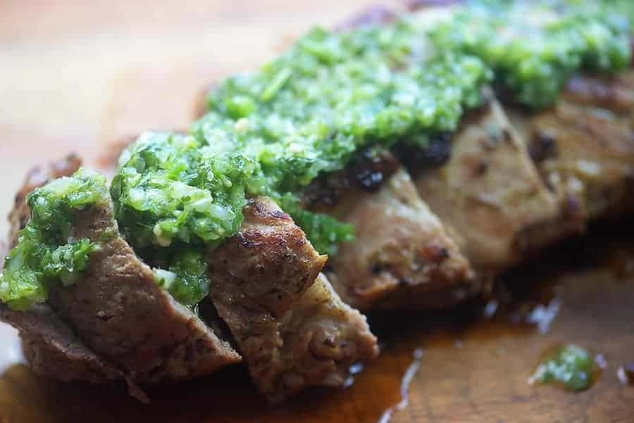 oven roasted pork tenderloin topped with cilantro chimichurri