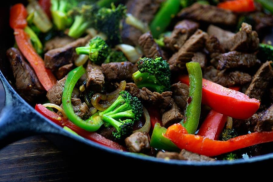 steak stir fry in cast iron skillet