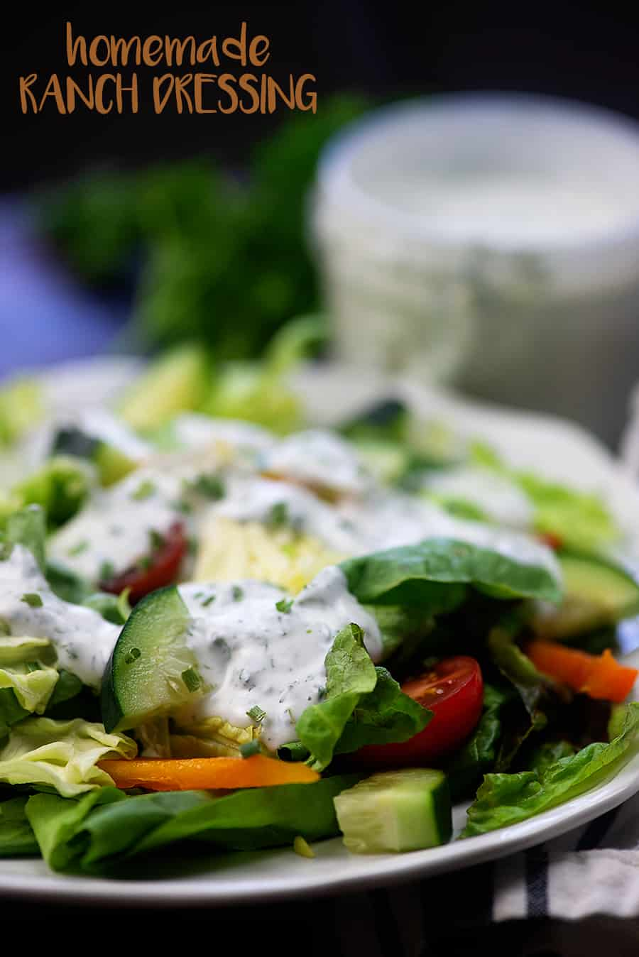 The BEST homemade ranch dressing! No packets of seasoning - just loads of fresh flavor and it's low carb and keto too! #lowcarb #keto #ranch