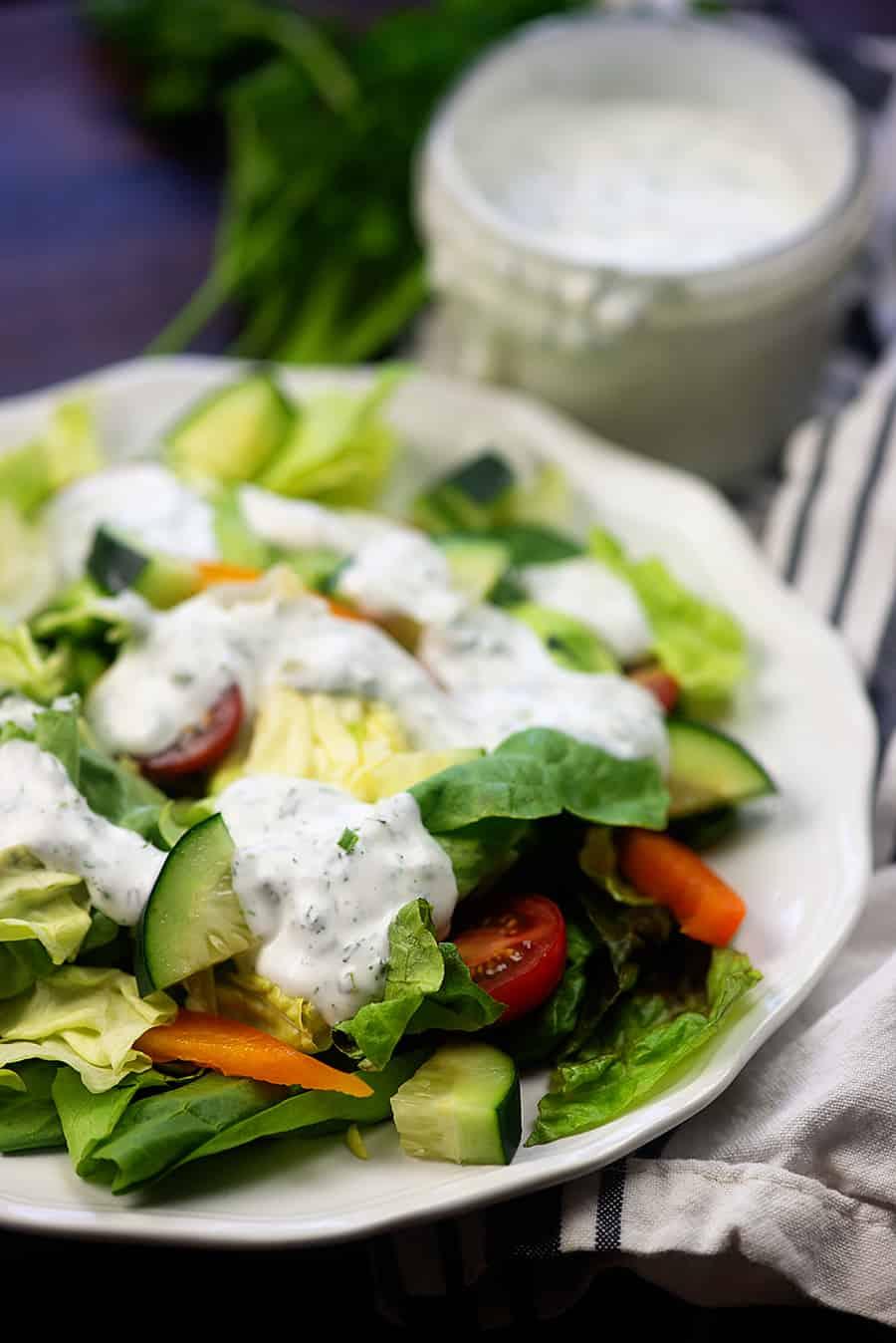 healthy ranch dressing on salad