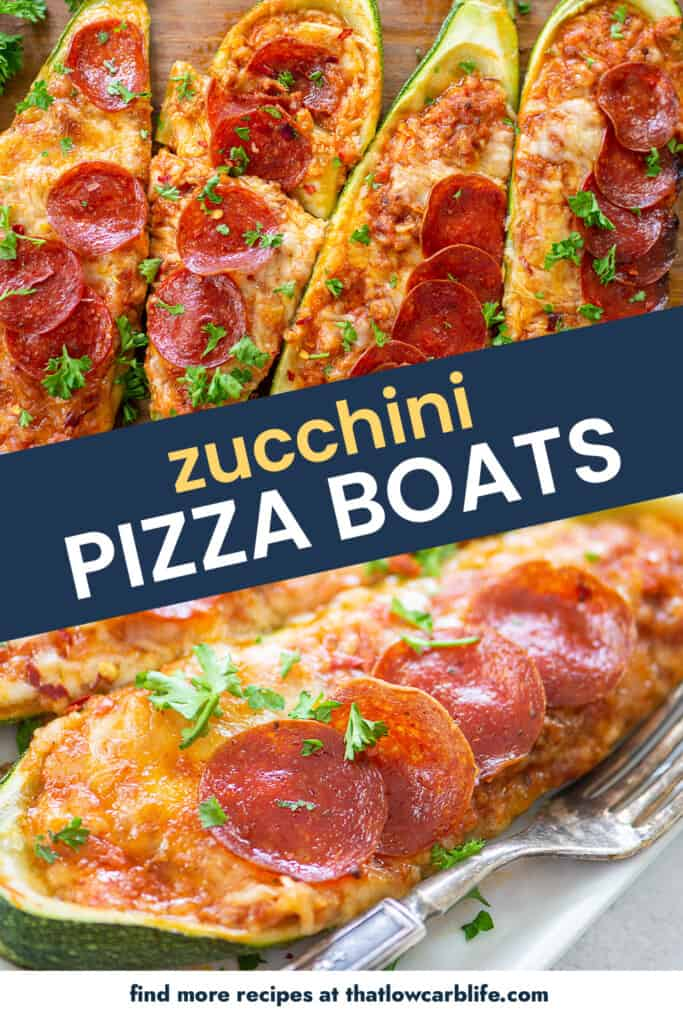 collage of zucchini pizza boats images.