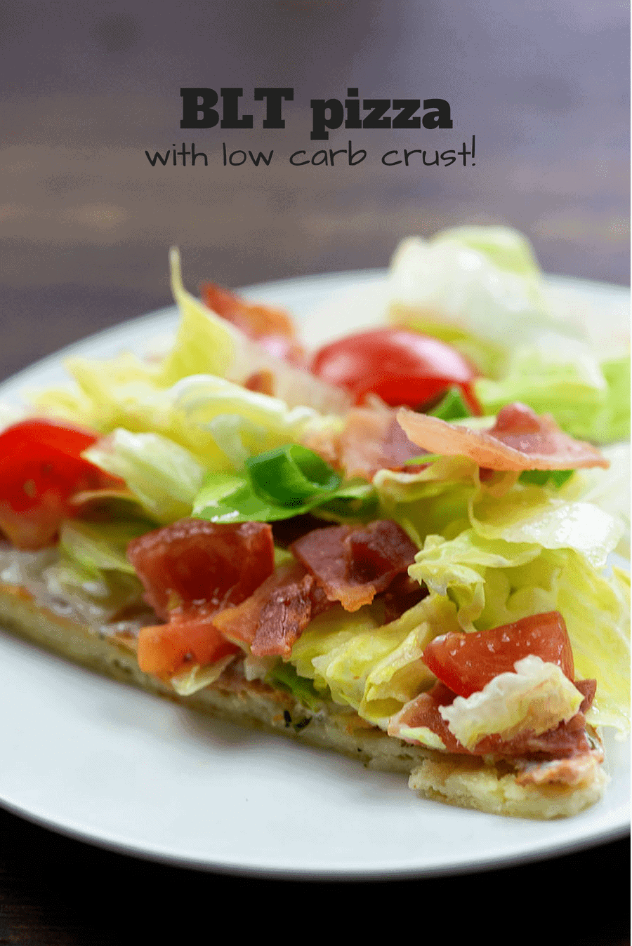 BLT pizza on a white plate