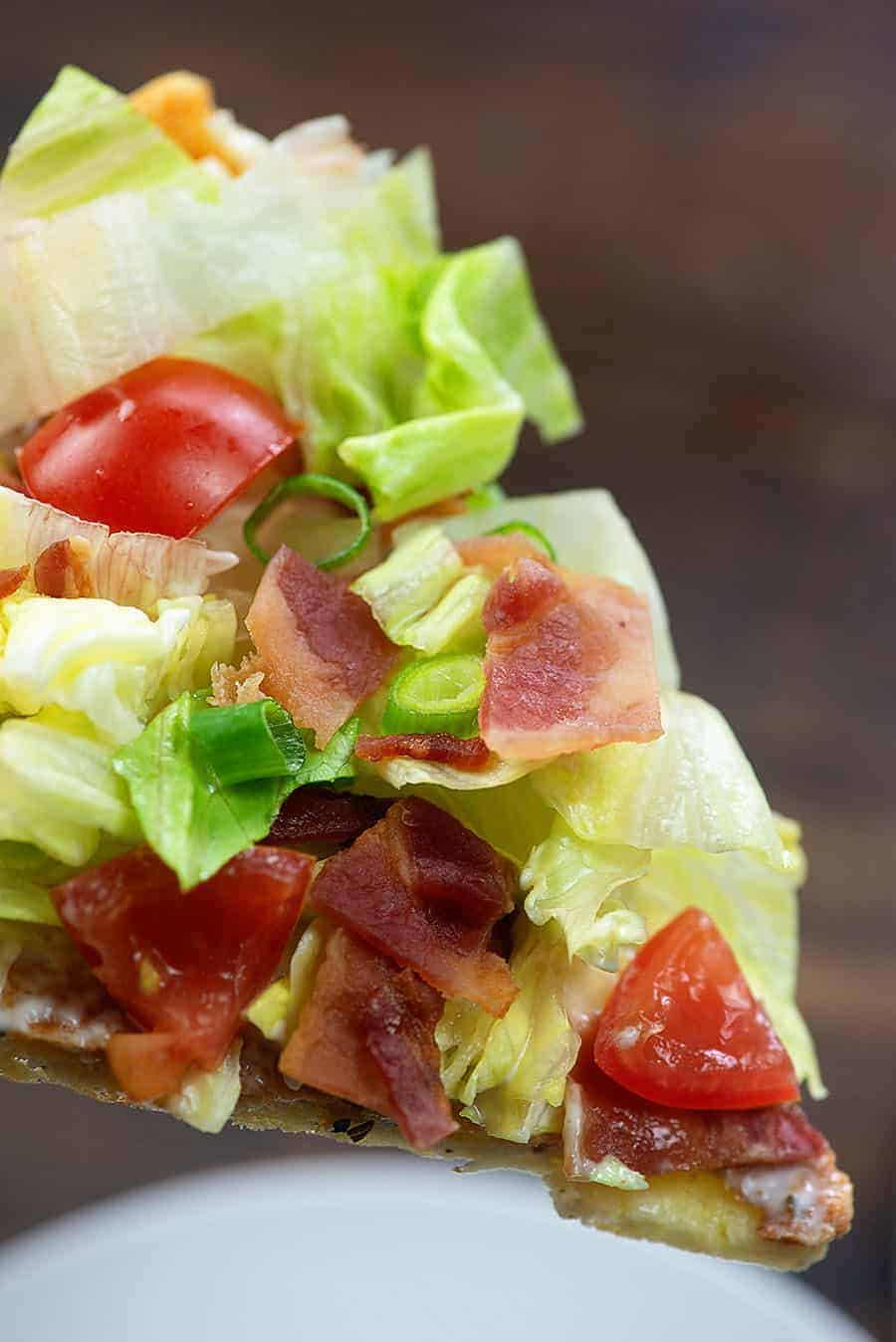 Low carb BLT pizza with crispy, chewy fathead dough! #lowcarb #keto #pizza