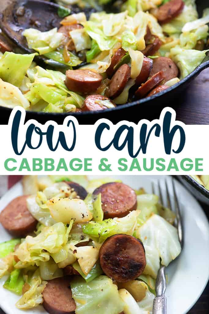 collage of smoked sausage and cabbage images with text for Pinterest.