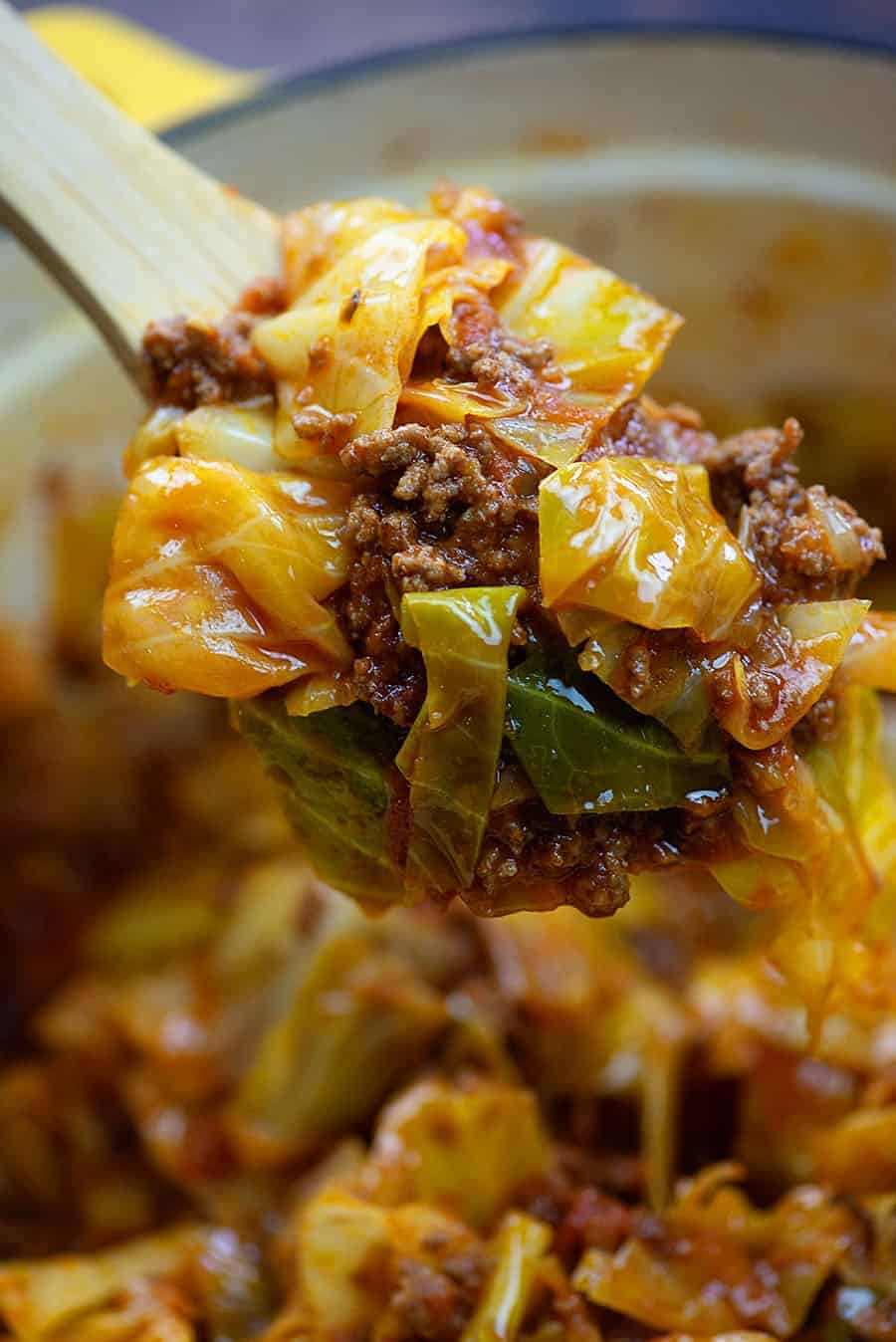 cabbage roll casserole in yellow dish