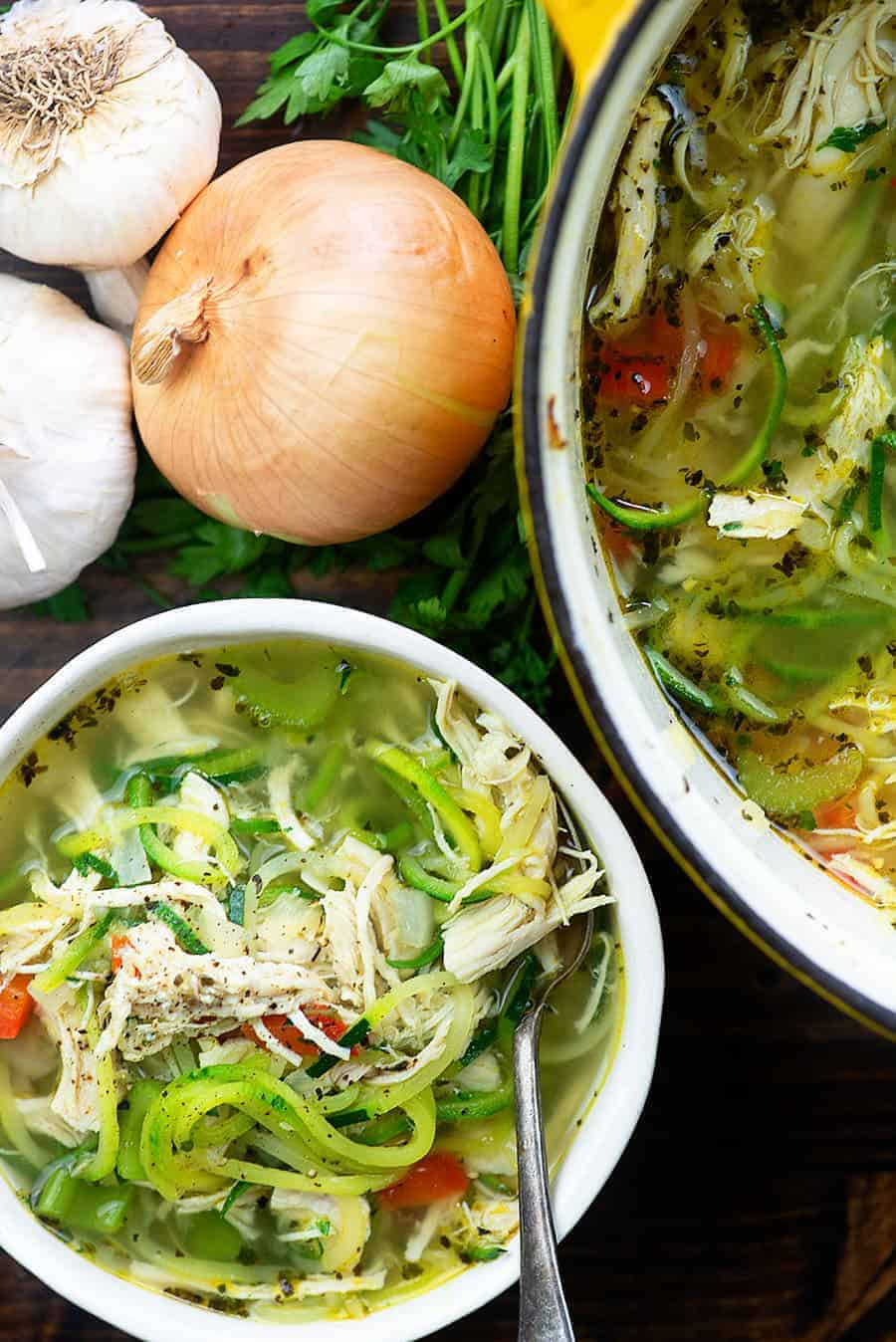Chicken Zoodle Soup! This low carb keto soup is perfect for cooler weather! #lowcarb #keto #chicken #soup