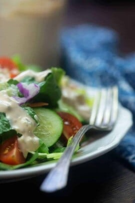 A close up of a plate of food, with Thousand Island dressing