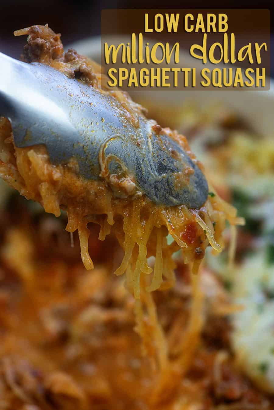 Tongs scooping up some spaghetti squash