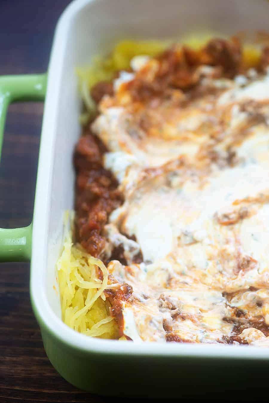 million dollar spaghetti casserole in baking dish