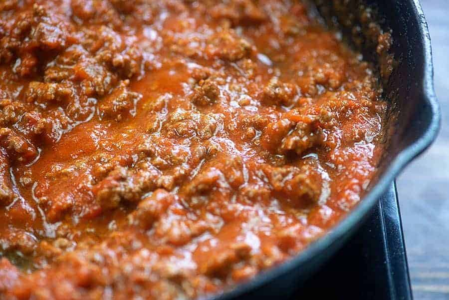 low carb marinara sauce in skillet