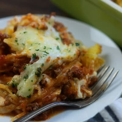 A close up of a plate of food, with Casserole