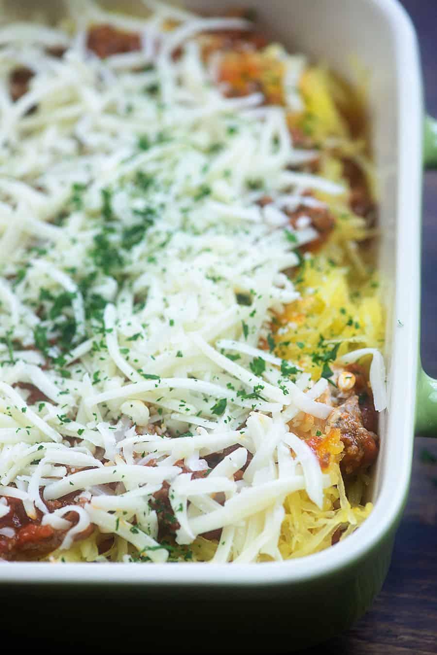 spaghetti squash casserole in baking dish