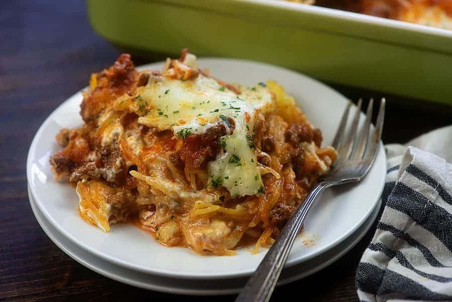 spaghetti squash casserole on white plate