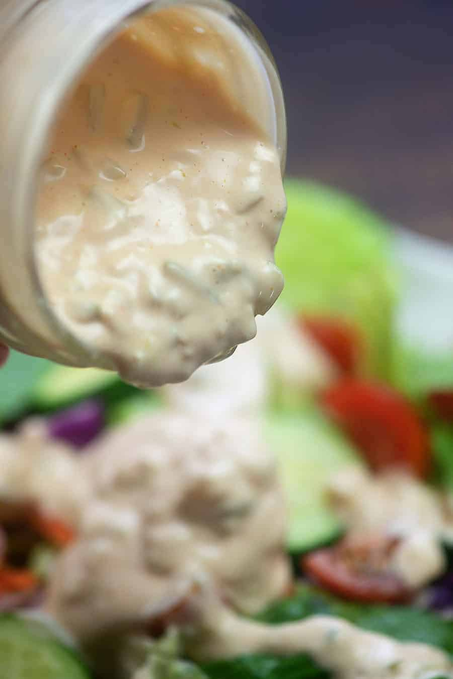 Thousand Island Dressing Recipe! Homemade, sugar free, low carb, and keto approved! #lchf #lowcarb #keto