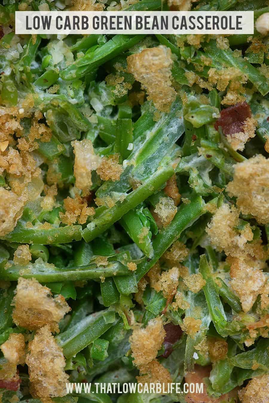 A close up of an overhead view of green bean casserole