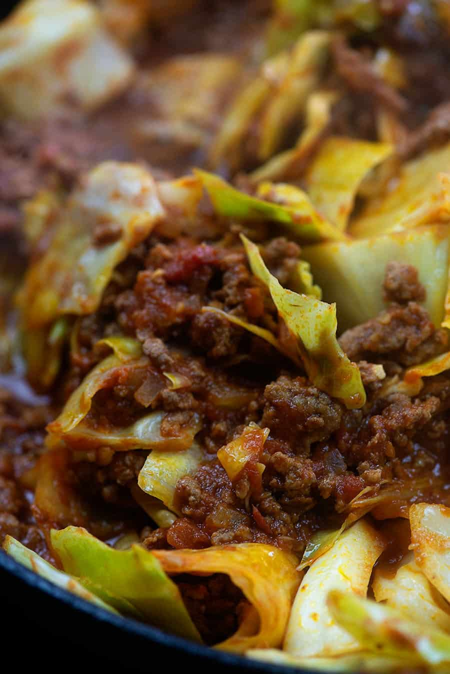 Low carb lasagna cabbage in skillet