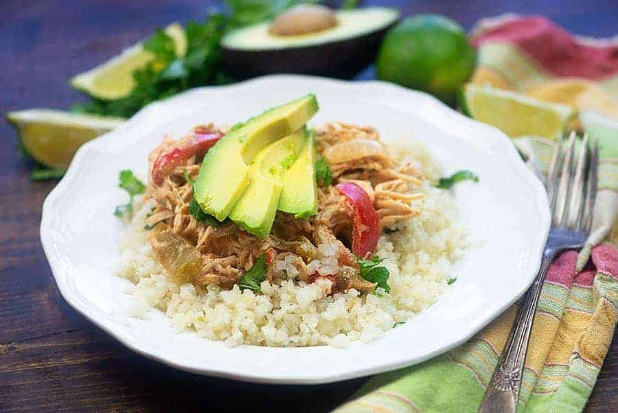 easy chicken fajitas on cauliflower rice