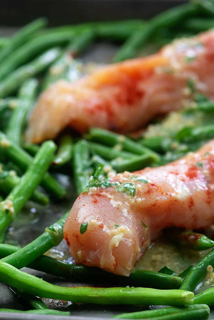raw chicken and green beans