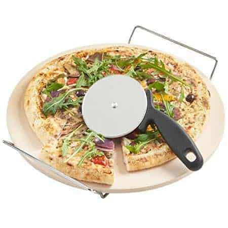 "Pizza Stone for Oven 15 x 3/5"" BBQ Baking Stone Round Grilling Ceramic Pan with Cutter Handle Set"