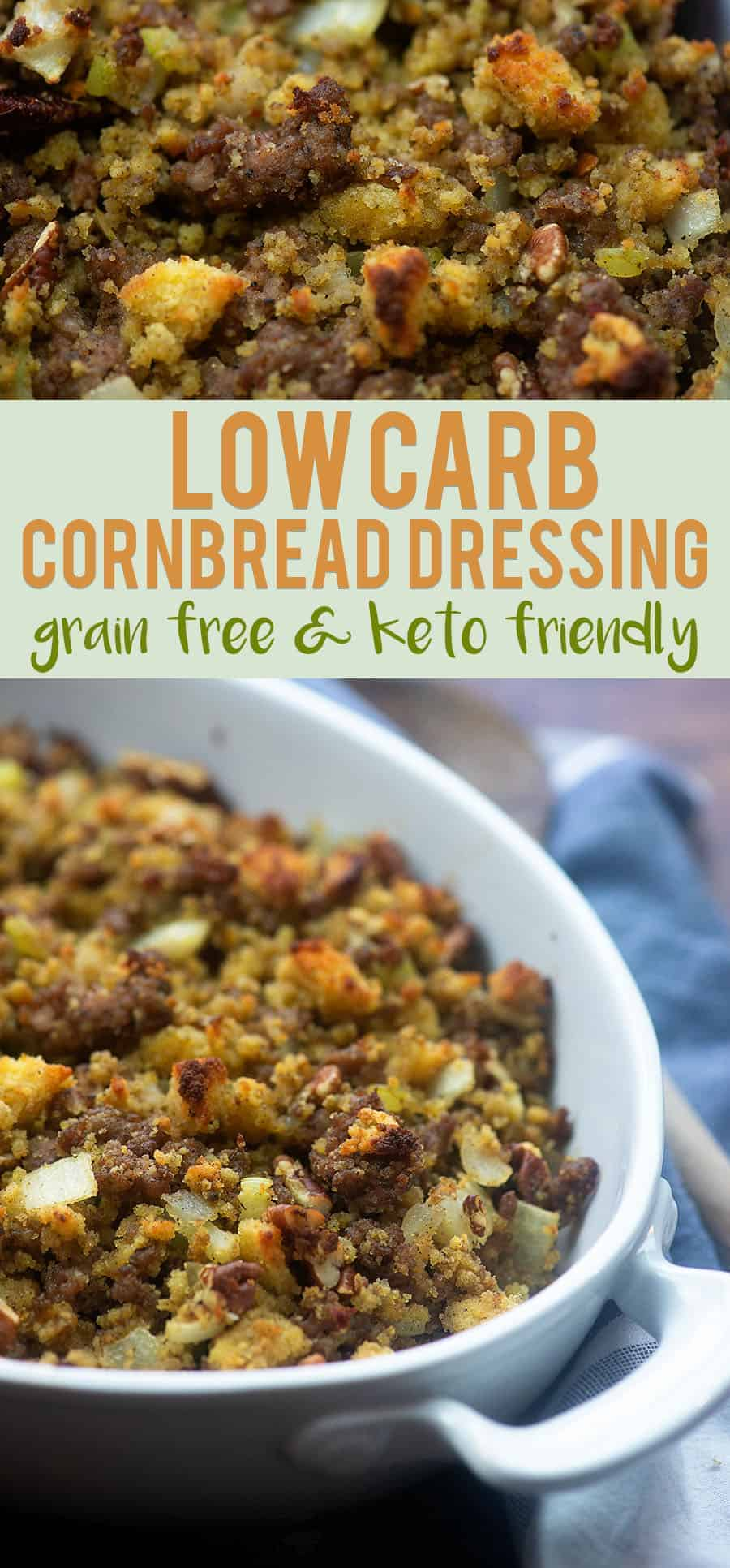 "Low Carb ""Cornbread"" Dressing! Keto friendly and perfect for Thanksgiving! #lowcarb #keto #cornbread #stuffing #thanksgiving"