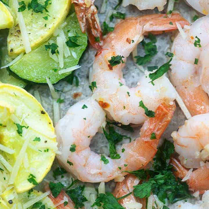 shrimp and lemons topped with parsley
